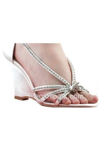 Elegantpark Satin Wedge Heel With Rhinestone Wedding Bridal Sandals (MC-023)