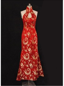 Red Phoenix Tail Silk Brocade Halter Wedding Qipao