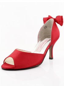 Elegantpark Red Satin Stiletto Heel Peep Toe Slick Evening Shoes