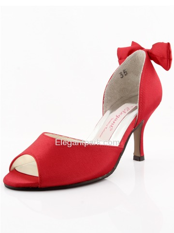 Elegantpark Red Satin Stiletto Heel Peep Toe Slick Evening Shoes (MM-091B)