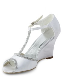 Elegantpark Open Toe Wedge Beading Buckle Satin Wedding & Party Shoes