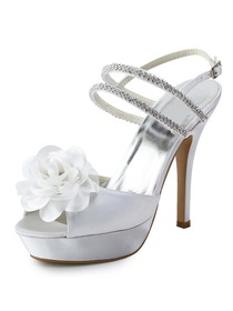 Elegantpark Open Toe Stiletto Heel Sandal Straps Beading Buckle Flower Satin Wedding & Party Shoes