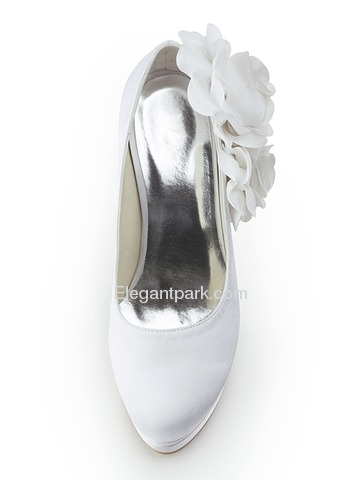 Elegantpark Closed Toe Pumps Double Platforms Side-Flowers Satin Stiletto Heel Wedding & Party Shoes (EP11089-2PF)