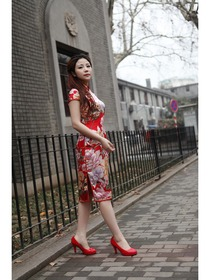 Rot Knielang Single-Linie Seide Chinesisches Kleid/Cheongsam