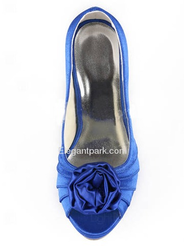 Elegantpark Satin Open Toe Stiletto Heel/Pumps Platform Evening&Party Shoes With Satin Flowers (EP11043-PF)