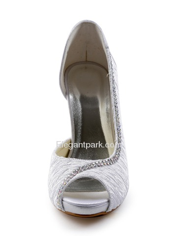 Elegantpark Satin Peep Toe Stiletto Heel/Pumps Inside Platform Ruched Rhinestones Bridal Shoes(More Colors) (EP11044-IP)