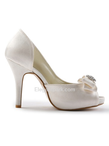 Elegantpark Satin Peep Toe Stiletto Heel/Pumps Inside Platform Evening&Party Shoes With Bowknot(More Colors) (EP11045-IP)