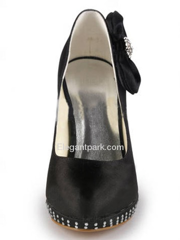 Elegantpark Satin Closed Toe Stiletto Heel/Pumps Platform Rhinestones Evening&Party Shoes with Side-Bowknot (EP11046-PF)