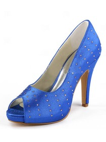 Elegantpark Satin Peep Toe Stiletto Heel/Pumps Inside Platform Rhinestones Evening&Party Shoes(More Colors)