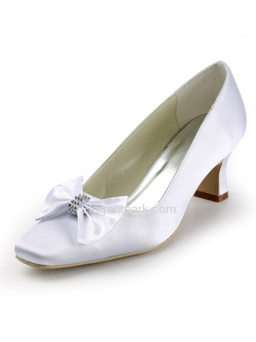 Elegantpark White Square Toe Satin Bow Bridal Evening Party Shoes (EP11107)