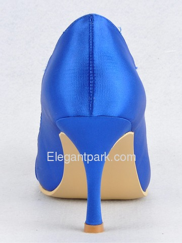 Elegantpark Blue Round Toe Bowknot Stiletto Heel Satin Wedding Evening Party Shoes (EL10030)