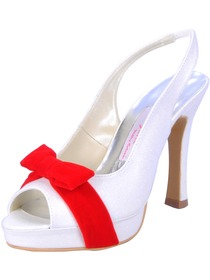 Elegantpark Red & White Peep Toe Bow Platform Stiletto Heel Glitter Wedding Evening Party Shoes