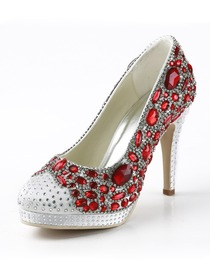 Elegantpark Round Toe Rhinestones Stiletto Heel Platform Evening Party Shoes