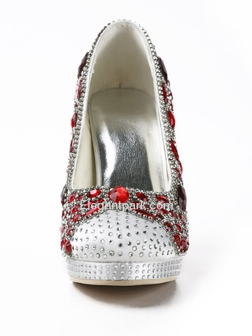 Elegantpark Round Toe Rhinestones Stiletto Heel Platform Evening Party Shoes (EP11124-PF)