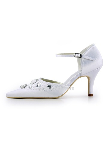 Elegantpark White Pointy Toe Stiletto Heel Satin Rhinestone Wedding Evenig Party Shoes (EP11117)