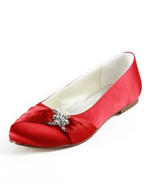 Elegantpark Red Almond Toe Flat Satin Bowknot Wedding Evening & Party Shoes