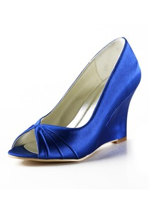 Elegantpark Blue Peep Toe Wedge Satin Wedding Evening & Party Shoes