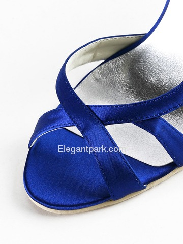 Elegantpark Blue Peep Toe Stiletto Heel Satin Wedding Evening Party Shoes (EP2010)
