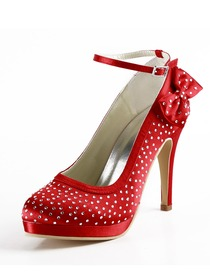 Elegantpark Red Almond Toe Platform Satin Bowknot Wedding Evening & Party Shoes