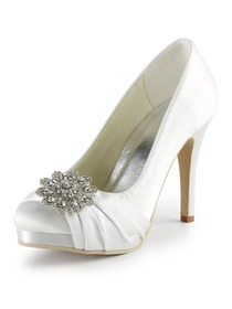 Elegantpark White Almond Toe Stiletto Heel Platform Satin Wedding Evening Party Shoes