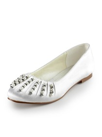 Elegantpark Ivory Almond Toe Flat Satin Pearls Wedding Evening Party Shoes