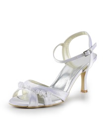 Elegantpark White Stiletto Heel Satin Wedding & Evening Party Sandals
