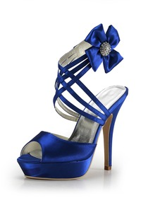 Elegantpark Blue Peep Toe Platform Flower Satin Wedding Evening Party Sandals