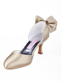 Elegantpark Satin Almond Toe Spool Heel Bow Satin Evening Party Shoes