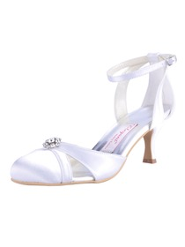 Elegantpark White Round Toes Rhinestone Spool Heel Satin Wedding Bridal Shoes