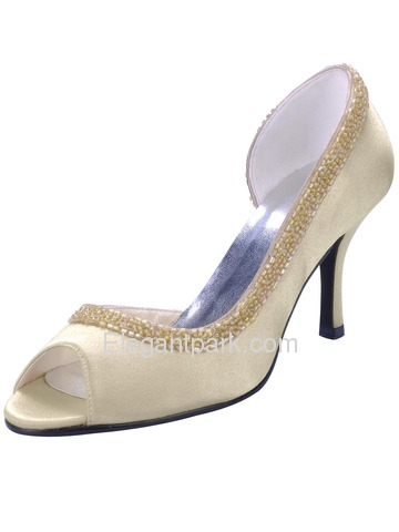 Elegantpark Trendy Peep Toe Stiletto Heel Satin Prom Shoes (EL-005)