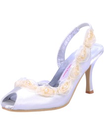 Elegantpark Peep Toe Satin Flower Satin Wedding Bridal Shoes