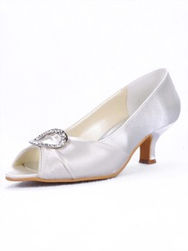 Elegantpark Ivory Peep Toe Stiletto Heel Buckle Satin Bridal Shoes