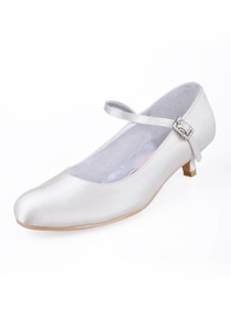Elegantpark Modern Low Heel Satin Bridal Wedding Party Shoes