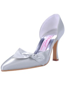 Elegantpark Silver Pointy Toes Stiletto Heel Satin Evening & Party Shoes
