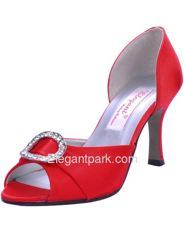 Elegantpark Red Elegant Satin Open Toe Stiletto Heel Evening Shoes (MM-009D)