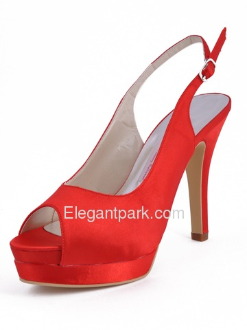 Elegantpark Red Satin Peep Toe Stiletto Heel Slingbacks With Buckle (EP11069-IPF)