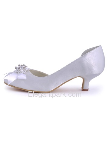 Elegantpark Burgundy Pretty Satin Pearls Round Toes Cone Heel Bridal Party Shoes (100114)