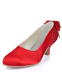 Elegantpark Red Almond Toe Chunky Heel Satin Bowknot Rhinestones Evening Party Shoes