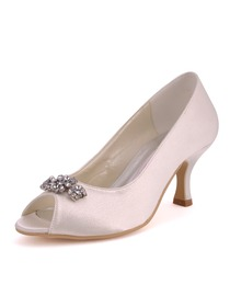 Elegantpark Ivory Peep Toe Low Heel Satin Rhinestones Evening Party Shoes