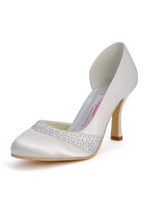 Elegantpark Ivory Round Toes Stiletto Heel Satin Bridal Shoes