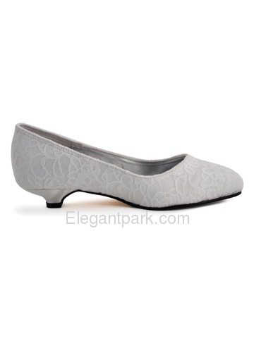 Elegant Low Heel Satin Lace Bridal Shoes (AJ002)
