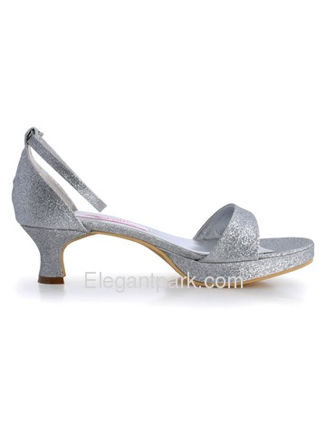 Elegantpark Silver Open Toe Chunky Heel Glitter PU Platform Evening Party Sandals (EP31011)