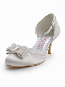 Elegantpark Ivory Almond Toe Bow Stiletto Heel Satin Wedding Bridal Shoes