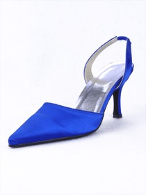 Elegantpark Blue Satin Pointy Toes Stiletto Heel Evening Party Shoes