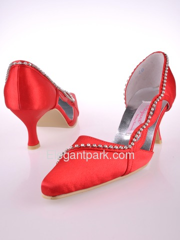 Elegantpark Red Pointy Toe Satin Rhinestones Stiletto Heel Bridal Party Prom Shoes (MC-004)