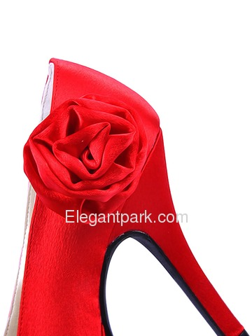 Elegantpark Red Pretty Peep Toe Satin Platforms Stiletto Heel Party Shoes (EP11005-PF)