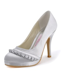 Elegantpark Silver Almond Toe Stiletto Heel Paltform Bridal Evening Party Shoes