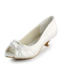 Elegantpark Ivory Peep Toe Low Heel Satin Wedding & Evening Party Shoes