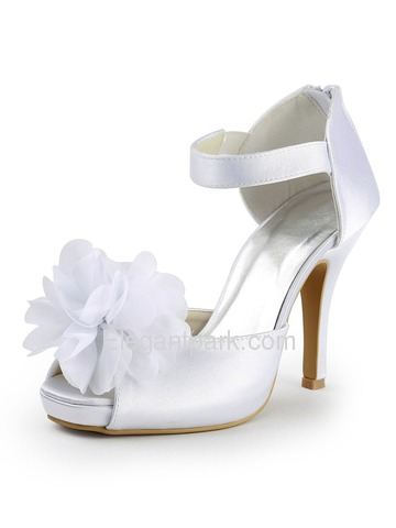 Elegantpark Peep Toe Platform Stiletto Heel Satin Flower Wedding & Evening Party Shoes (EP2047-IP)