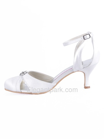 Elegantpark White Round Toes Rhinestone Spool Heel Satin Wedding Bridal Shoes (A0780)